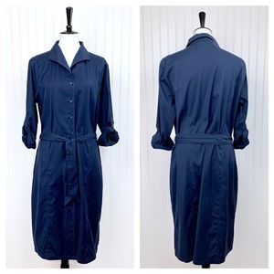 Alex Marie • Navy Tie Waist Collar Shirtdress • 16